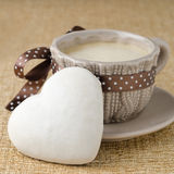 Cake with icing in the form of heart and a cup of coffee, select Stock Photos