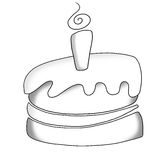 Cake icon. Icon in black and white of a stylized cake Stock Image