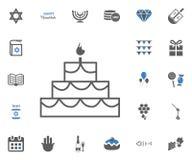 Jewish Holiday Hanukkah icons set. Vector illustration. Cake icon. Jewish Holiday Hanukkah icons set. Vector illustration Royalty Free Stock Photography