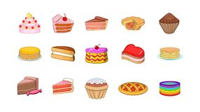 Cake icon set, cartoon style. Cake icon set. Cartoon set of cake vector icons for your web design isolated on white background vector illustration
