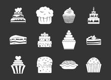 Cake icon set grey vector. Cake icon set vector white isolated on grey background stock illustration