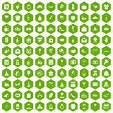 100 cake icons hexagon green. 100 cake icons set in green hexagon isolated vector illustration Stock Illustration