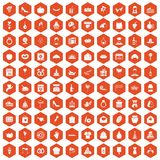 100 cake icons hexagon orange. 100 cake icons set in orange hexagon isolated vector illustration Stock Illustration