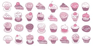 Cake Icons Set Royalty Free Stock Image