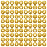 100 cake icons set gold. 100 cake icons set in gold circle isolated on white vectr illustration Royalty Free Stock Images