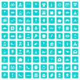 100 cake icons set grunge blue. 100 cake icons set in grunge style blue color isolated on white background vector illustration Royalty Free Stock Images