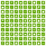 100 cake icons set grunge green Stock Photography