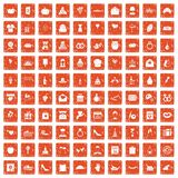 100 cake icons set grunge orange. 100 cake icons set in grunge style orange color isolated on white background vector illustration Royalty Free Stock Photography