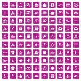 100 cake icons set grunge pink. 100 cake icons set in grunge style pink color isolated on white background vector illustration Stock Photo