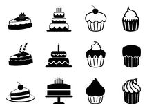 Cake icons set. Isolated black cake icons set from white background Stock Photography