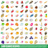 100 cake icons set, isometric 3d style Royalty Free Stock Images