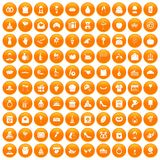 100 cake icons set orange. 100 cake icons set in orange circle isolated vector illustration vector illustration