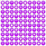 100 cake icons set purple. 100 cake icons set in purple circle isolated vector illustration Royalty Free Stock Images