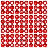 100 cake icons set red. 100 cake icons set in red circle isolated on white vectr illustration stock illustration