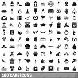 100 cake icons set, simple style. 100 cake icons set in simple style for any design vector illustration Stock Image