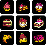 Cake icons Stock Photography