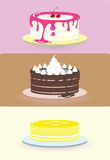 Cake illustration/. Cake illustration set Lemon, Chocolate, Cherry, Whipped Cream Royalty Free Stock Photos