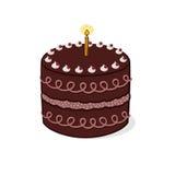 Cake illustration. Decorated chocolate birthday cake illustration Stock Photography