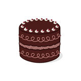 Cake illustration. Decorated chocolate cake illustration; Birthday cake Royalty Free Stock Image
