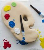 Cake imitating a painter's palette Stock Photo