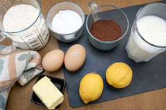 Cake ingredients. Some ingredients used in order to to a cake Royalty Free Stock Image