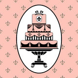 Cake invitation. Invitation template to birthday or wedding with antique motifs on pink background stock illustration