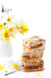 Cake with jam and  flowers Stock Photo