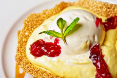 Cake with jam ice cream Stock Image