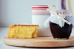Cake, jam, tea Stock Image