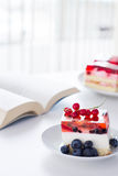 Cake with jelly on the table. Stock Photos