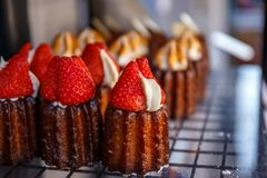 Cake junk. Crushed pastry with fresh cream and strawberries Royalty Free Stock Photos