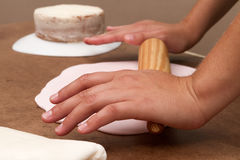 Cake and kitchenware royalty free stock photography