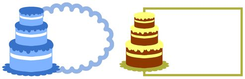 Cake label. Image representing a two labels with stylized cakes Royalty Free Stock Photography