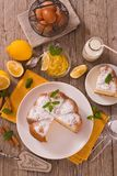 Cake with lemon cream filling. Cake with lemon cream filling on white dish royalty free stock photos