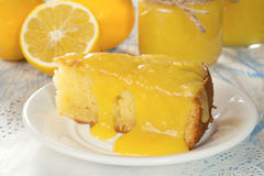 Cake with lemon curd. Cake with lemon curd on a white plate Stock Photography