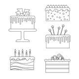 Cake lineart vector set Royalty Free Stock Photos
