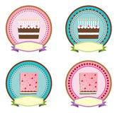 Cake icon, sticker vector Royalty Free Stock Photography