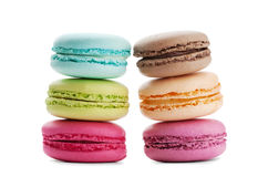 Cake macaron or macaroon isolated on white background, colorful dessert Stock Photography
