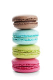 Cake macaron or macaroon isolated on white background, colorful dessert Royalty Free Stock Photography