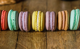Cake macaron or macaroon on turquoise background from above, col stock photos