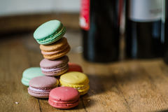 Cake macaron or macaroon on turquoise background from above, col stock images