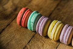 Cake macaron or macaroon on turquoise background from above, col stock image