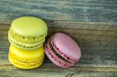Colorful macaroons. macaroons on wooden table. royalty free stock photos