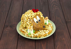 Cake made in the form of a hedgehog with mushrooms Royalty Free Stock Photography