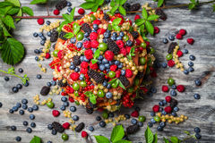 Cake made of fresh wild fruit Stock Photos