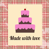 Cake made with love. Vintage Poster Stock Image