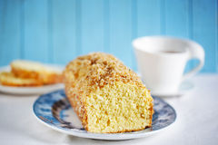 Cake made with shredded coconut, pound cake with tea Stock Photography