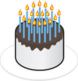 Cake Many Candles Stock Photography