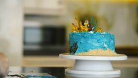 Cake in marine style stands on the table closeup. stock video