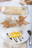 Cake with marzipan and pastry cream Stock Photos